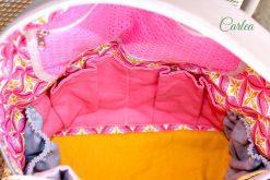 ROANO Innenansicht Hansedelli nähen für Männer Schnittmuster Rucksack gelb pink rau gemustert