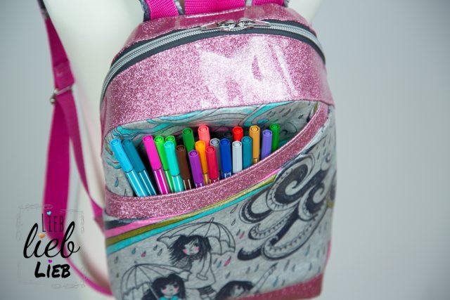 ROANI Hansedelli Kinderrucksack nähen Schnittmuster Rucksack Pink Glitzer