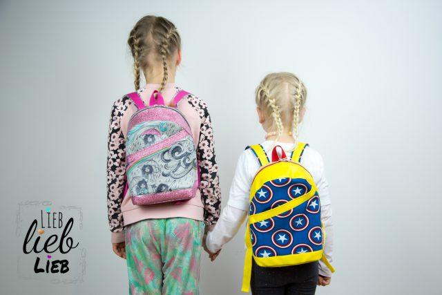 ROANI Hansedelli Kinderrucksack nähen für Kinder Schnittmuster Rucksack Superheld gelb blau Stern Pink Glitzer