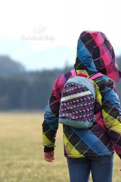 ROANI Hansedelli Kinderrucksack nähen für Kinder Schnittmuster Rucksack Flamingos pink blau