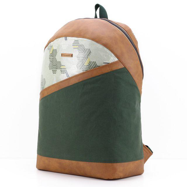 ROANO Hansedelli Rucksack nähen Dry Oilskin grün Wachstuch Waben abstrakt Schnittmuster Männerrucksack