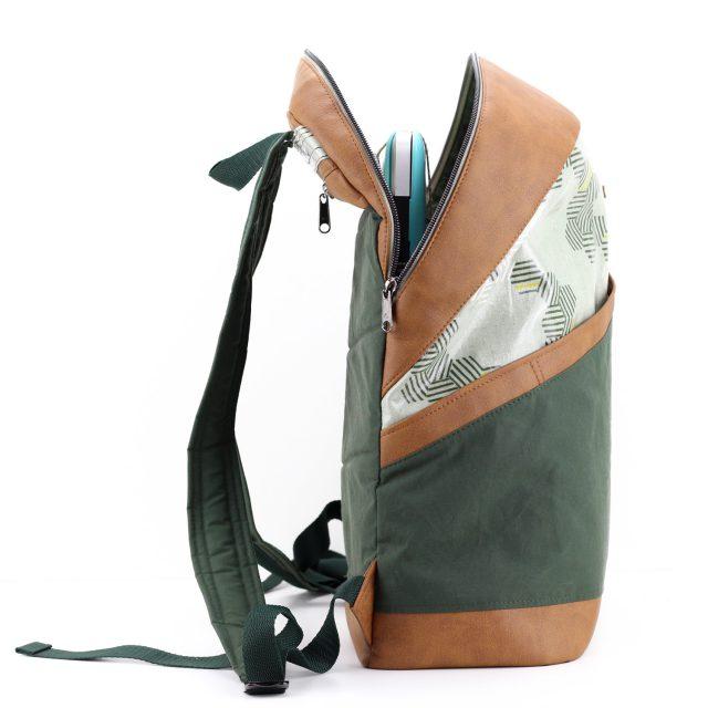 ROANO Hansedelli offen Laptopfach Rucksack nähen Dry Oilskin grün Macbook