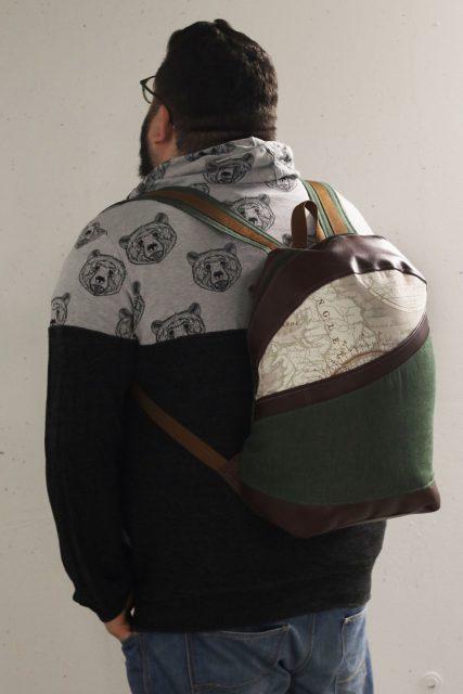 ROANO Hansedelli Rucksack nähen für Männer Schnittmuster Rucksack Reise Weltkarte