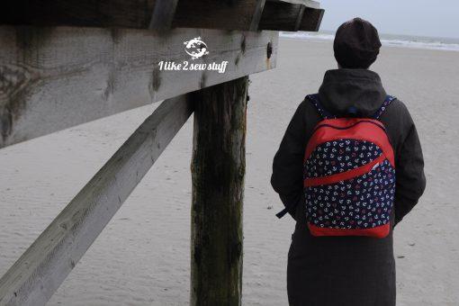 ROANO Hansedelli Rucksack nähen für Männer Schnittmuster Rucksack maritim Anker rot