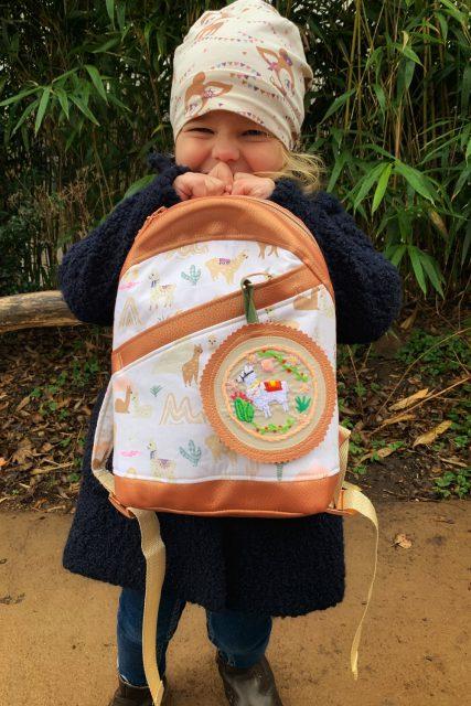 ROANI Hansedelli Kinderrucksack nähen für Kinder Schnittmuster Rucksack kupfer Alpakka