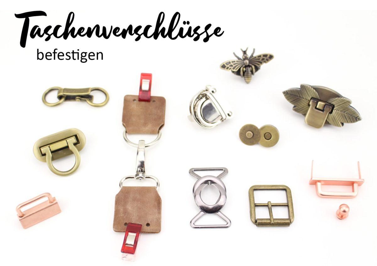 Taschenverschlüsse befestigen Taschenverschluss anbringen Steckschloss Mappenschloss