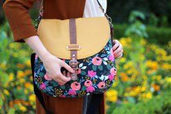 Bohania Hansedelli Sommertasche nähen Cotton & Steel Canvas Blumen gelbes Kunstleder Beuteltasche nähen