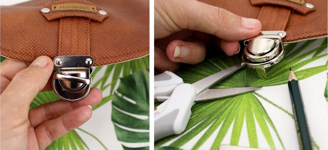 Mappenschloss befestigen Taschenverschluss Hansedelli Taschenzubehör verwenden Tasche nähen Bohania