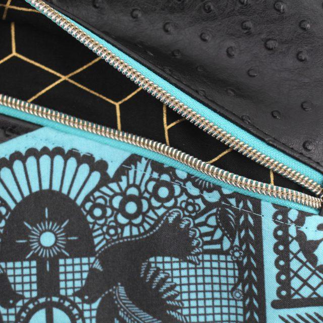 Außenfach Laptophülle Kuoria nähen schwarz gold türkis