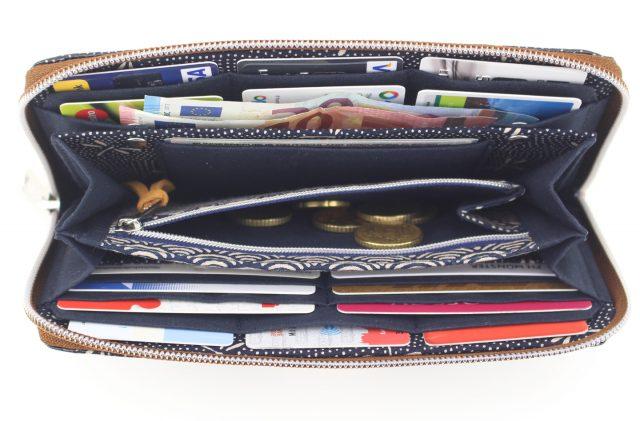 Portemonnaie umlaufender Reißverschluss japanische Stoffe