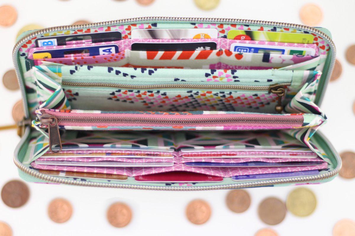 Mynta Geldbörse Hansedelli nähen mint rosa Portemonnaie umlaufender Reißverschluss