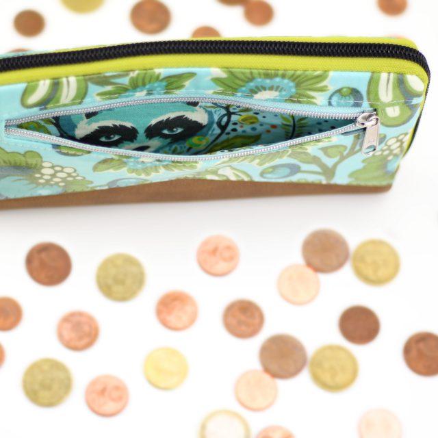 Geldbörse Mynta Reißverschlussfach nähen Tula Pink Waschbär