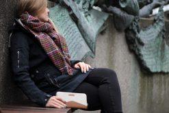MYNTA Geldbörse creme abstrakt Reißverschluss Hansedelli nähen
