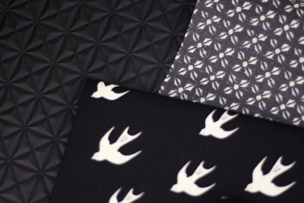 Kunstleder schwarz geometrisch