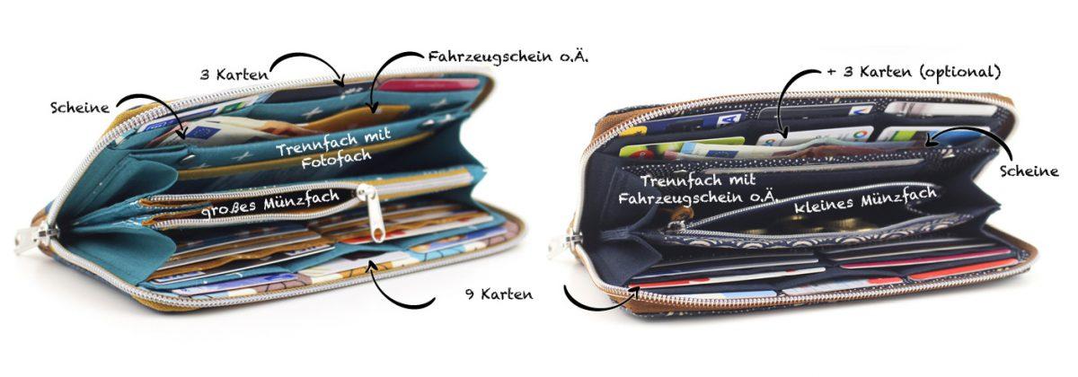 Mynta Details innen Fächer Hansedelli Geldbörse nähen