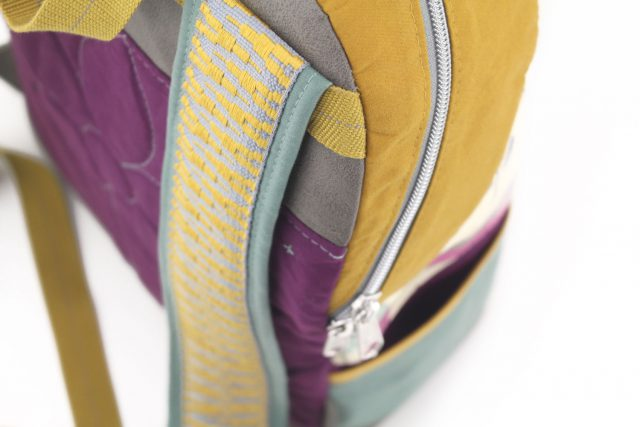 Detail Rucksackträger nähen Dry Oilskin Rucksack Schnittmuster Hansedelli