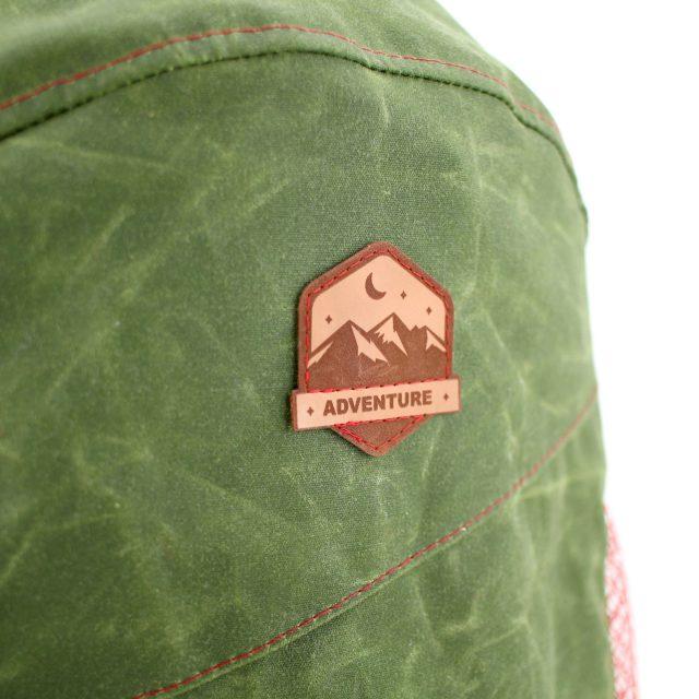 Aufnäher Adventure Patch Kunstleder Oilskin grün nähen Hansedelli