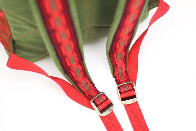 Ethno Gurtband rot Spannschnallen Metall Rucksack nähen Hansedelli