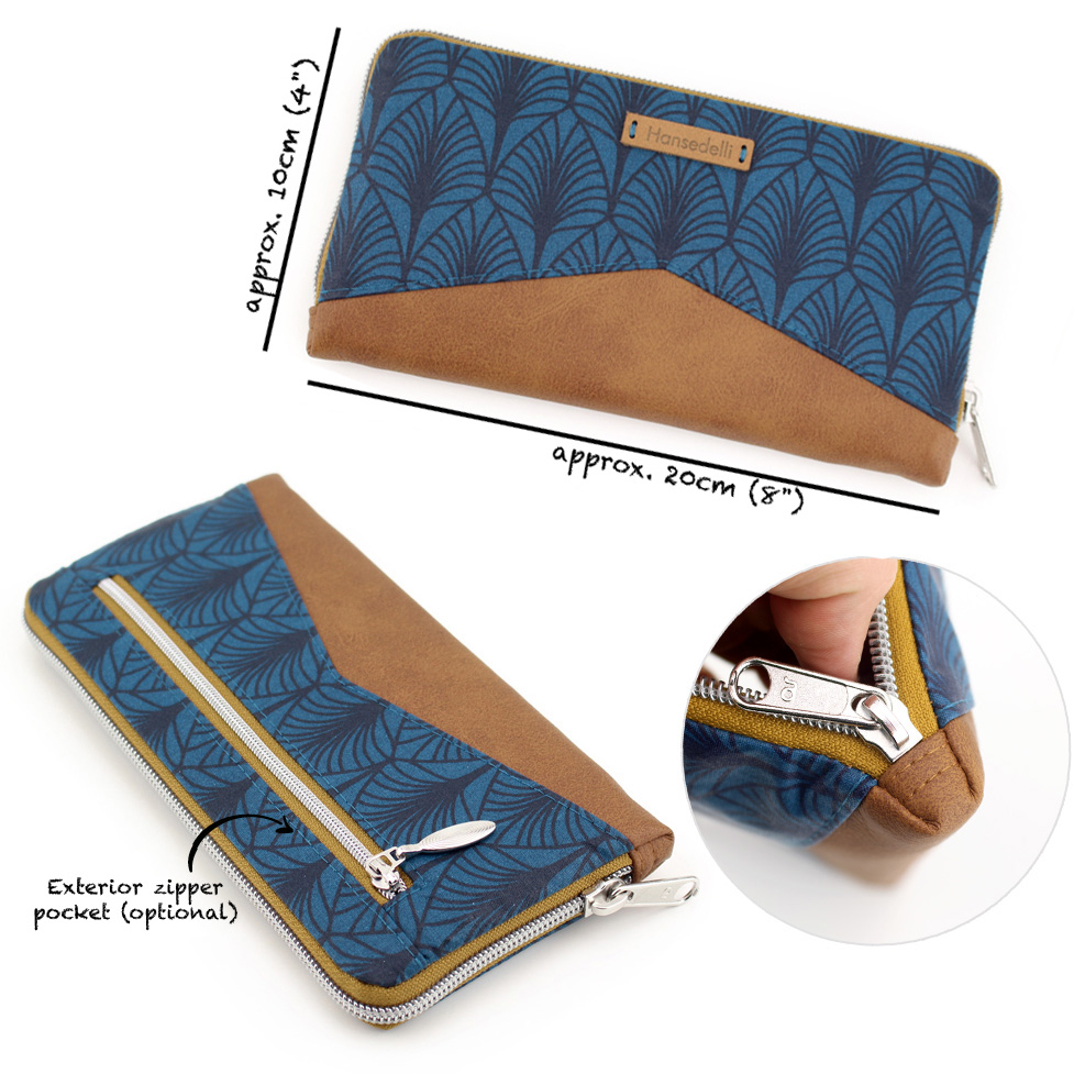 Measurements zip around wallet sewing pattern