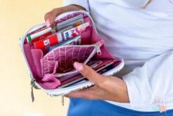 Little Mynta Geldbörse innen Ansicht Kartenfächer Münzfach pink Portemonnaie umlaufender Reißverschluss Hansedelli