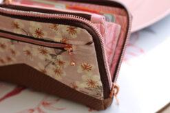 Little Mynta Geldbörse Kirschblüten Rückfach Portemonnaie nähen umlaufender Reißverschluss metallisiert kupfer Hansedelli