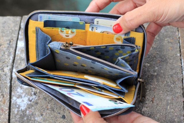 Geldbörse innen großes Münzfach Reißverschluss Portemonnaie Hansedelli
