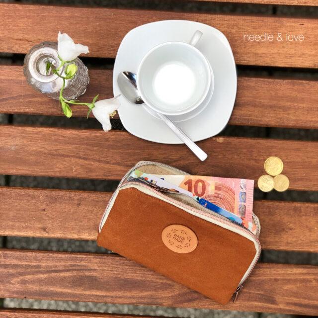 Handmade Geldbörse Leder nähen Portemonnaie Reißverschlus rundherum Schnittmuster Hansedelli