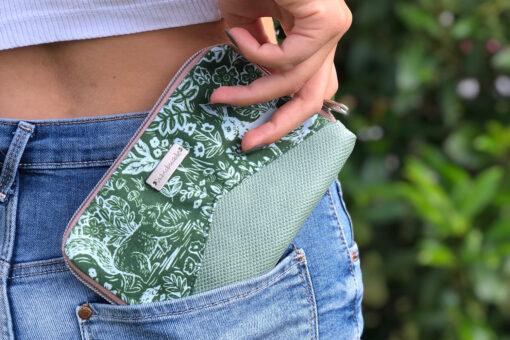 Geldbörse Little Mynta grün Waldtiere Portemonnaie mint Reißverschluss nähen Hansedelli
