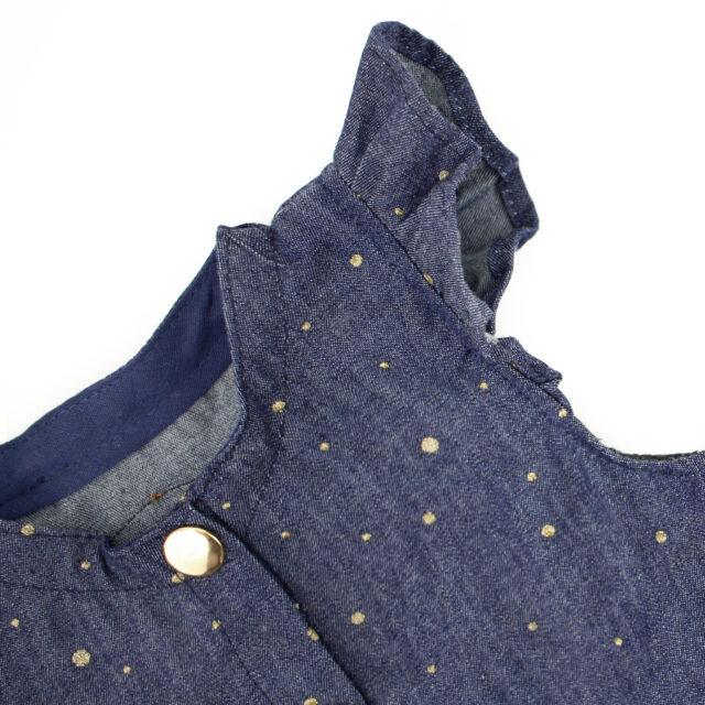 Jeansbluse mit Flügelärmel für Kinder nähen Chambray mit goldenen Punkten Hansedelli