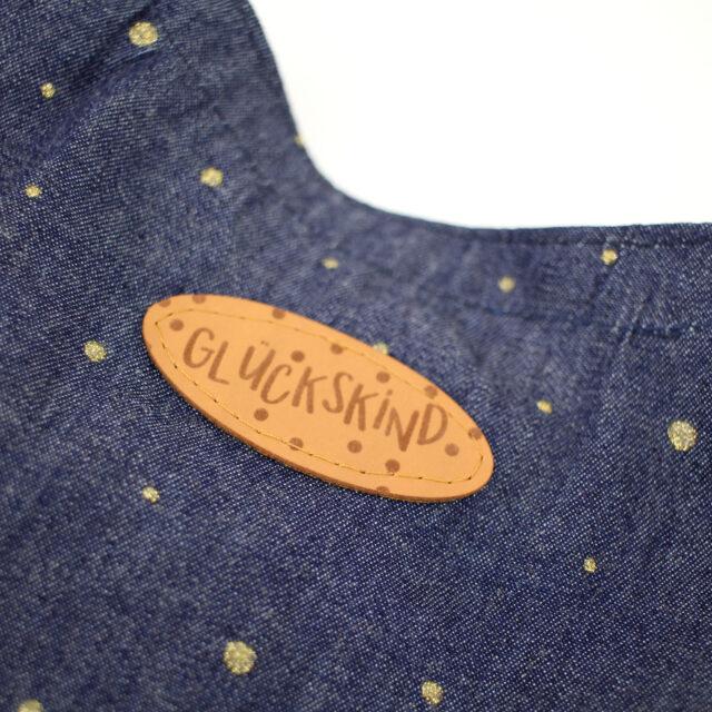 Jeansbluse für Kinder nähen Patch Glückskind Aufnäher Kunstleder Hansedelli