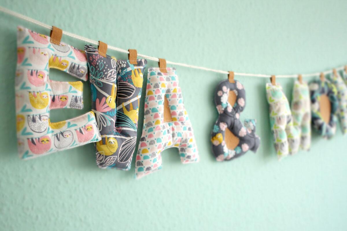 Buchstabenkette nähen Shesmile Kindergeburtstag Hansedelli