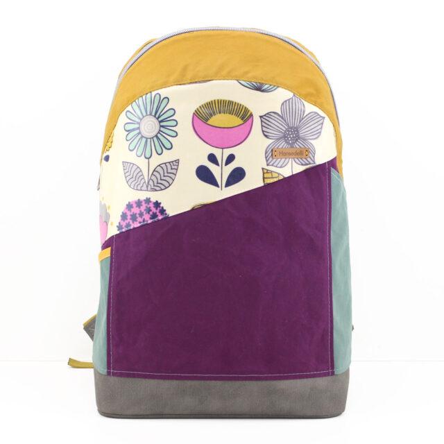 Retro Roana Rucksack Dry Oilskin Blumen Aubergine Mint Gelb Hansedelli