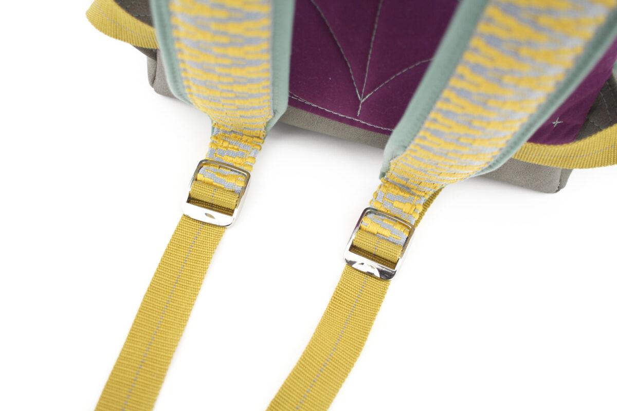 Rucksackträger selbernähen Gurtband Träger gelb mint Spannschnallen Metall Hansedelli