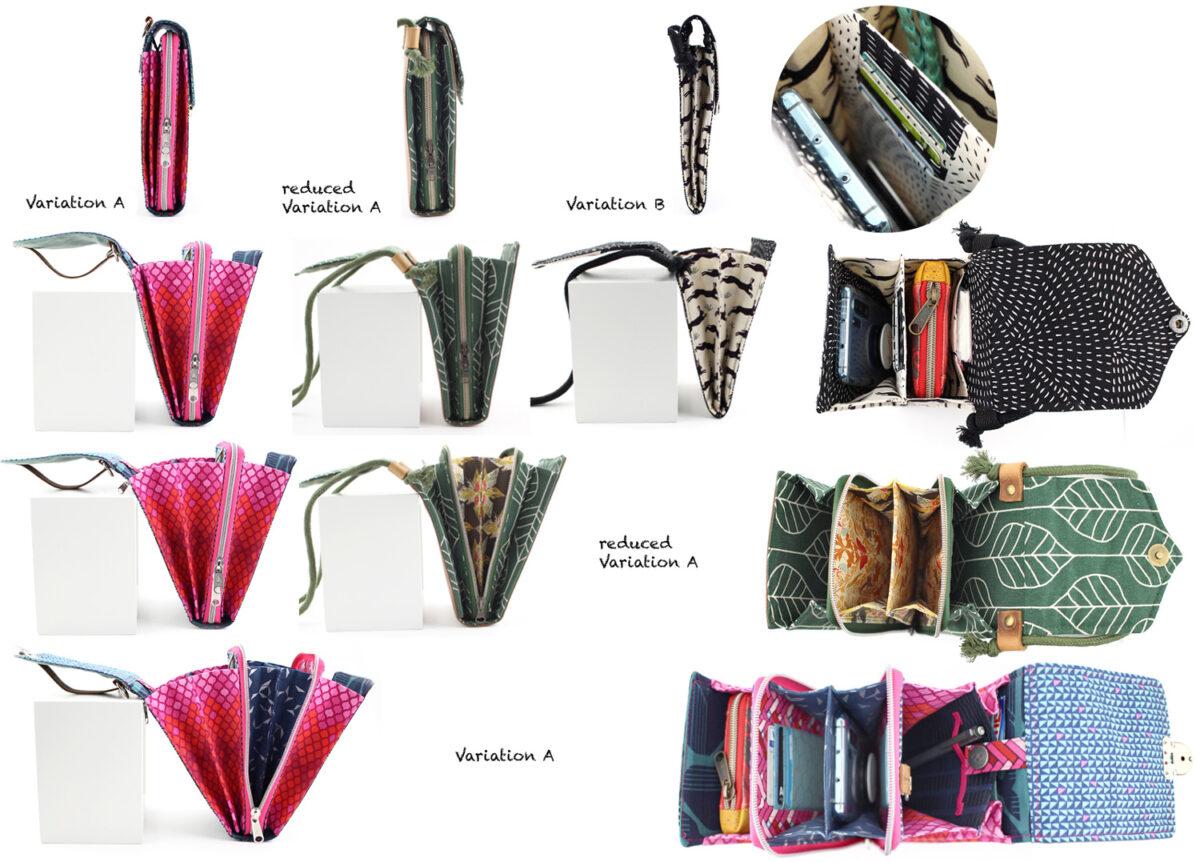 Variations of Bag Little Foksa Hansedelli pattern smartphone wallet sewing