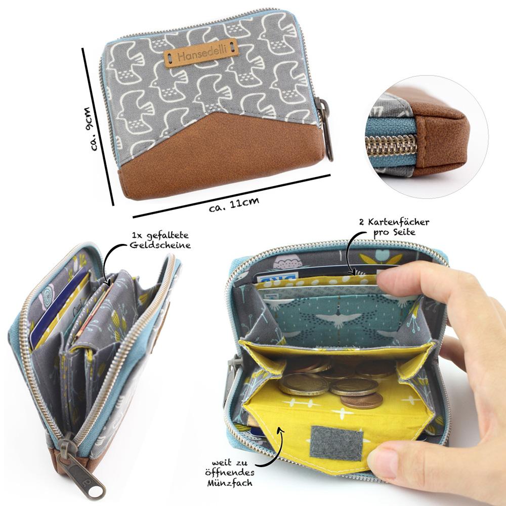 Geldbörse Mini Mynta Hansedelli Übersicht Mini Portemonnaie mit umlaufendem Reißverschluss nähen