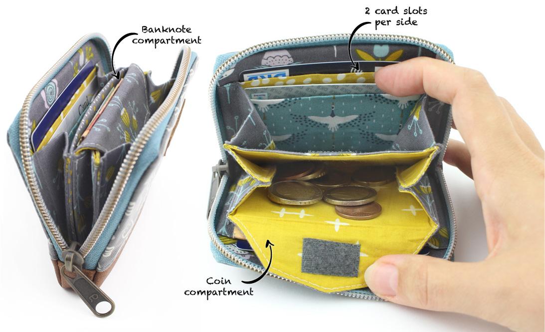 Mini Mynta interior details zip-around wallet sewing pattern