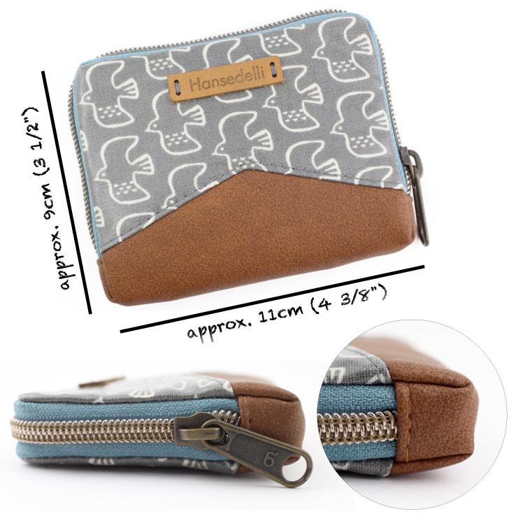 Mini Mynta exterior details zip-around wallet